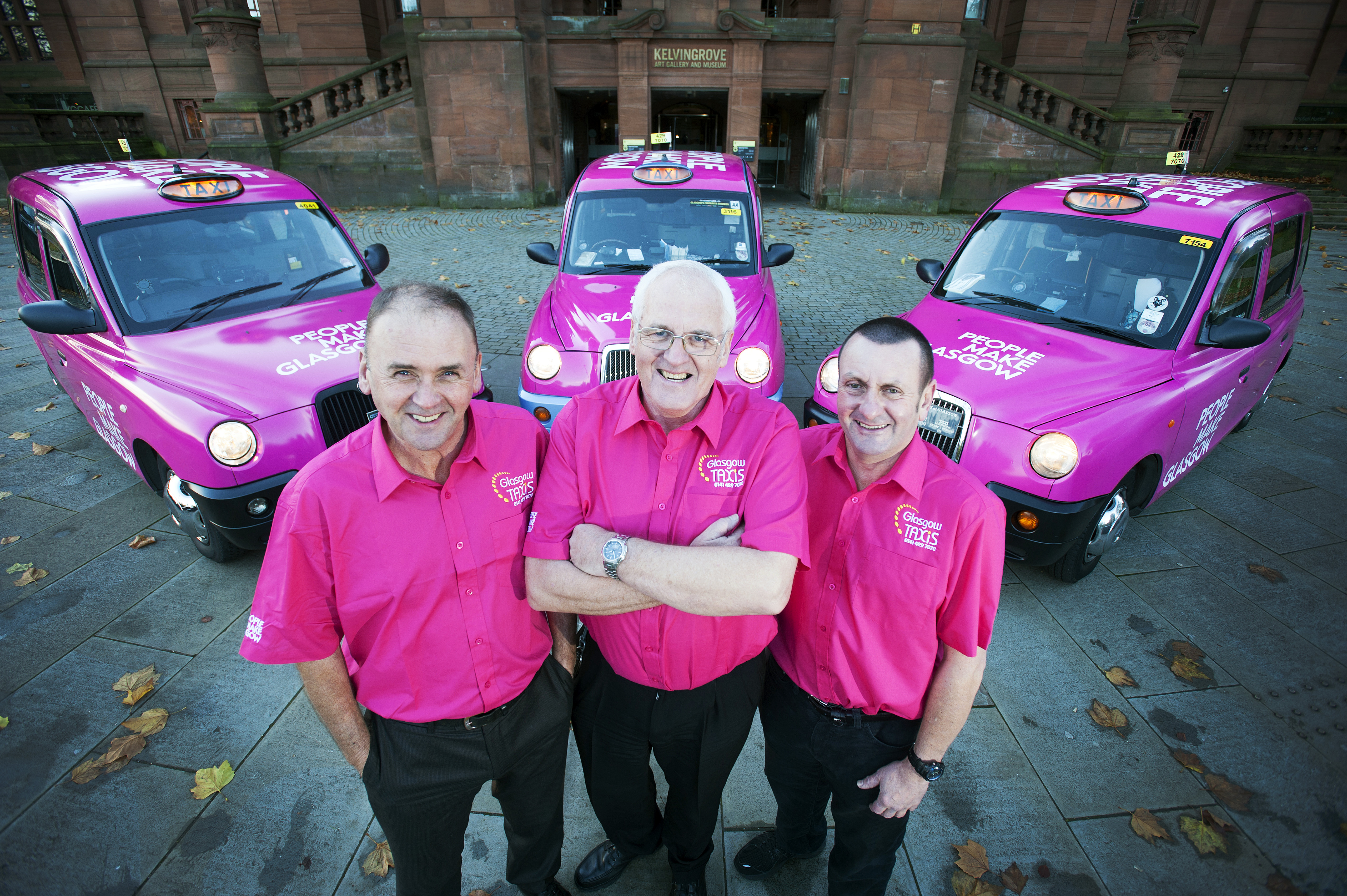 People Make Glasgow Taxis. 29/10/13 Picture © Andy Buchanan 2013People Make Glasgow Taxis. Pictures are taxi drivers (L to R) Kevin McEntee, Andy Semple, Davie Coull. 29/10/13 Picture © Andy Buchanan 2013